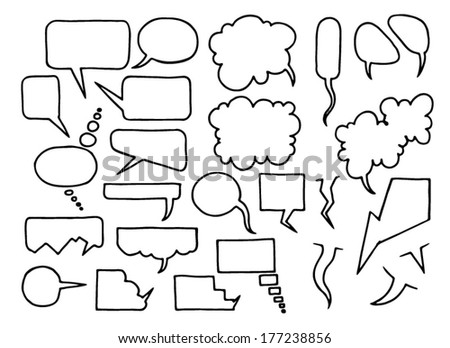 Set of hand drawn comic speech bubbles - stock vector