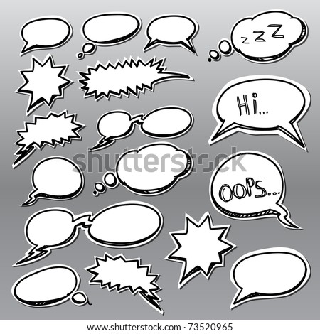 Set of hand-drawn comic style talk clouds - stock vector