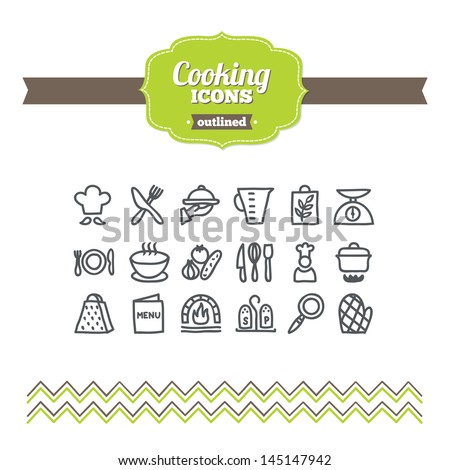 Set of hand-drawn cooking icons - stock vector