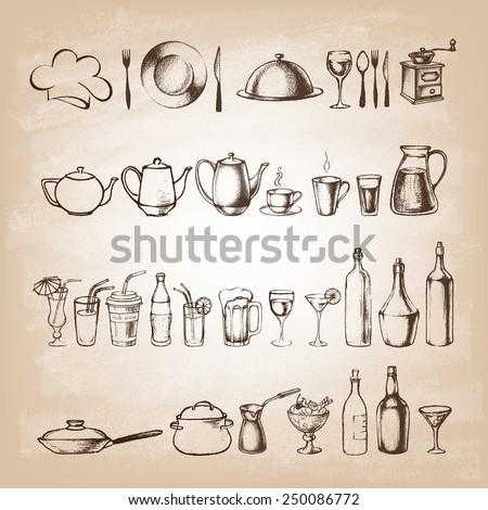 Set of hand drawn cookware . Kitchen background. Doodle kitchen equipments. Food and Drink. Silhouettes of kitchen utensils. Vintage style. Vector illustration.  - stock vector