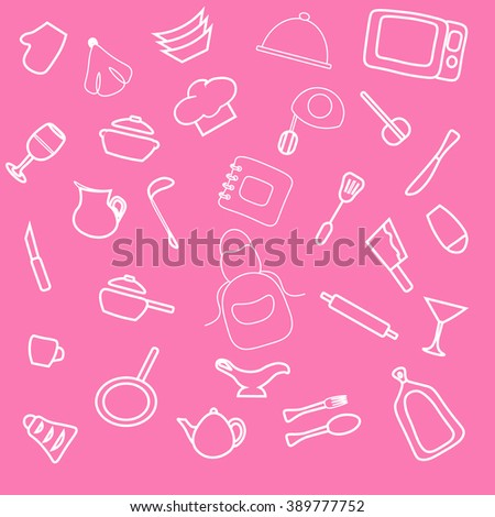 Set of hand drawn cookware. Kitchen pink girl background. Doodle kitchen equipments. Vector illustration. Sekitchen utensils silhouette tools, appliances, cooking Retro-Styled  - stock vector