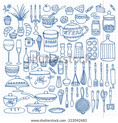 Set of hand drawn cookware on the lined paper. Kitchen background. Doodle kitchen equipments. Vector illustration. - stock vector