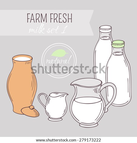 Set of hand drawn dairy farm objects. Background with milk goods. Vector illustration
