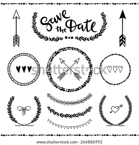 Set of hand drawn decorative design elements. - stock vector