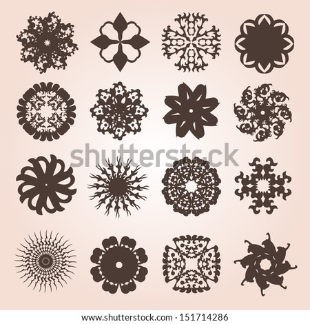 set of 16 hand drawn decorative snowflakes for your design - stock vector