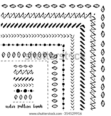 Set of Hand drawn decorative vector pattern brushes - stock vector