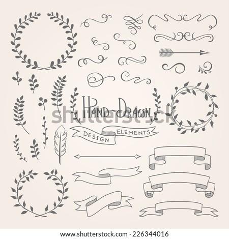 set of hand-drawn design elements. - stock vector
