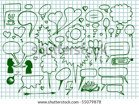 set of hand drawn dialog icons - stock vector