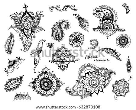 Set Hand Drawn Different Mehndi Elements 632873108