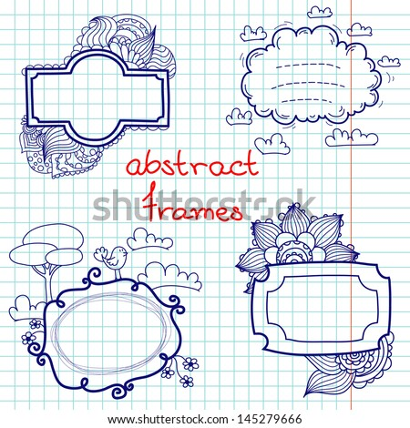 Set of hand drawn doodle abstract frames. Notebook doodles on squared paper background. - stock vector