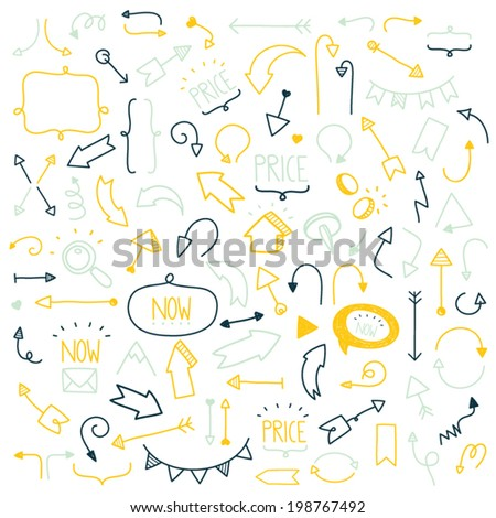 Set of hand drawn doodle and colorful arrows and icons on a white background - stock vector