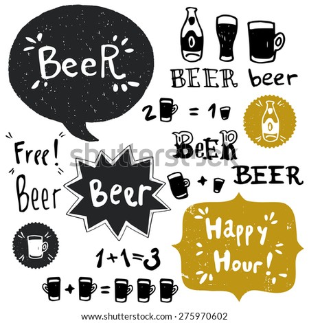 Set of hand drawn doodle beer bottles, glasses and banners. Cartoon hand written lettering isolated on white background. - stock vector