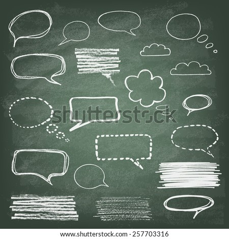 Set of hand-drawn doodle chalk banners on blackboard. Talking bubble . Vector illustration. - stock vector