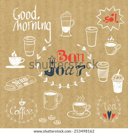 Set of hand drawn doodle coffee break doodles and Good Morning lettering isolated on kraft paper background. Morning newspaper and cup of coffee. - stock vector