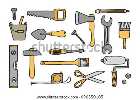 set of hand drawn doodle construction tools vector illustration with cartoon wrench bolt - Home Building Tools
