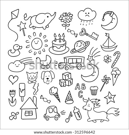 Set of hand-drawn doodle elements in children style: animals, nature, objects, sweets - stock vector