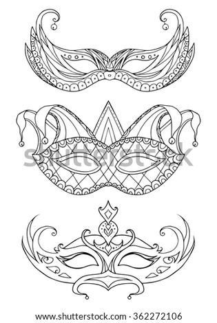Set of hand-drawn doodle face masks. Festival Mardi Gras, masquerade. - stock vector