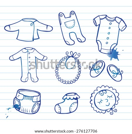 Set of hand-drawn doodle icons baby clothes and accessories. - stock vector