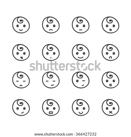 Set of hand drawn doodle smiles isolated on white background. Different facial expressions.