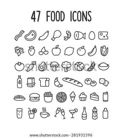 Set of hand drawn doodle style line icons of food: meat and dairy, fruits and vegetables, processed food and drinks. - stock vector