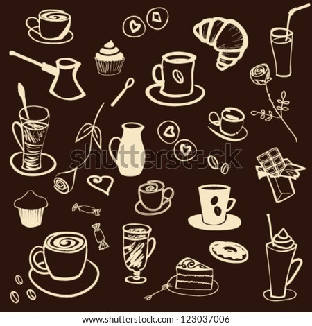 Set of hand drawn doodle - Tea and Coffee Time in vector - stock vector