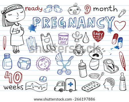 Set of hand-drawn doodles baby toys, food, accessories. - stock vector