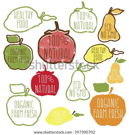 Set of hand drawn eco frendly labels.Vector illustration