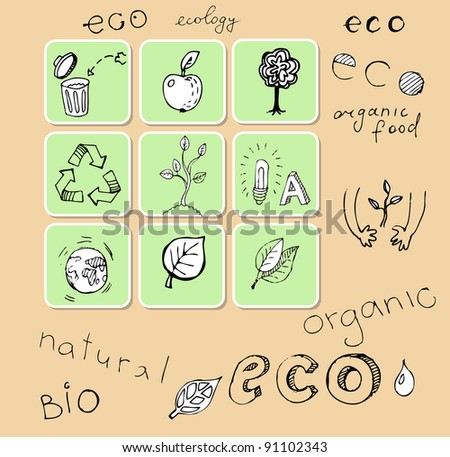 Set of hand-drawn eco icons (vector)