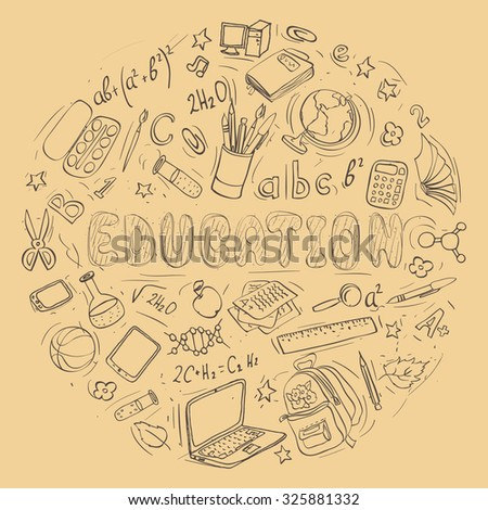 set of hand drawn education doodles shaped in circle. vector illustration