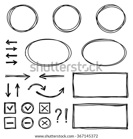 Set of hand drawn elements for selecting text. - stock vector