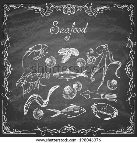 Set of hand drawn elements  seafood on blackboard. Retro vintage style seafood design.   Vector illustration. - stock vector