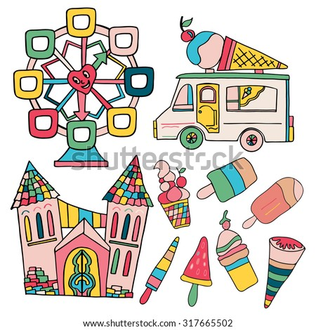 Set of hand drawn elements; wheel, ice-cream truck, kinds of ice-cream, castle. - stock vector