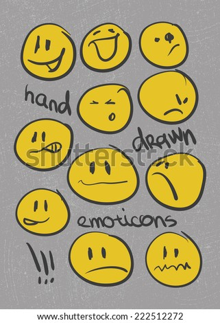 Set of hand drawn emoticons . Vector eps8 - stock vector