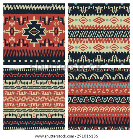 Set of hand drawn ethnic seamless backgrounds. Tribal patterns for your design. Use for fabric, pattern fills, web page background. Zigzag and stripe line - stock vector