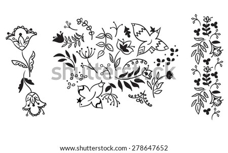 set of hand drawn fairytale birds and flowers, vector sketch illustration