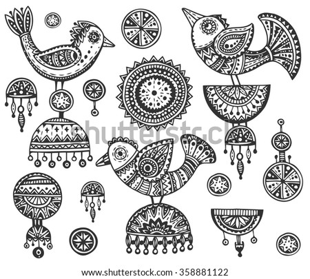 Set of hand drawn fancy birds in ethnic ornate doodle style with jewelry elements. Black and white vector illustration - stock vector