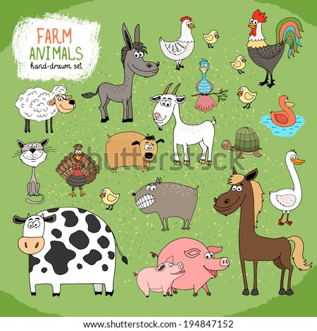 Set of hand-drawn farm animals and livestock with a black and white cow,  horse,  donkey,  sheep,  pig,  piglet,  goose,  duck,  rooster,  hen with chicks,  guard dog,  cat,  goat and tortoise. - stock vector