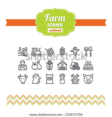 Set of hand-drawn farm icons - stock vector