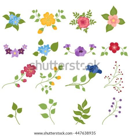 Set Of Hand Drawn Flower And Floral Composition Collection Rustic Nature Elements Ornaments