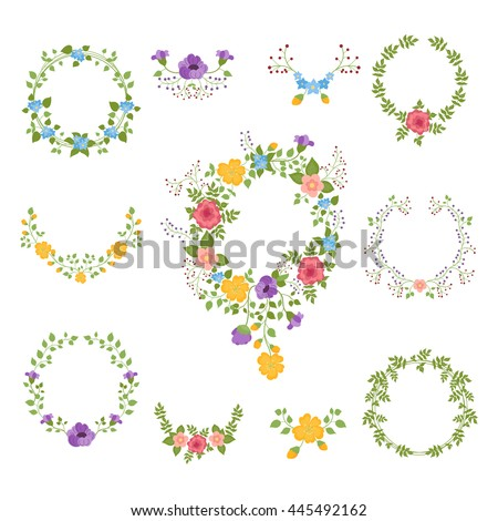 Set Of Hand Drawn Flower And Leaves Wreathes Collection Rustic Floral Elements Ornaments