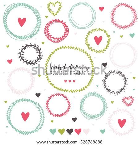 Set Hand Drawn Flower Round Frames Stock Vector 528768688