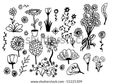 set of hand drawn flowers - stock vector