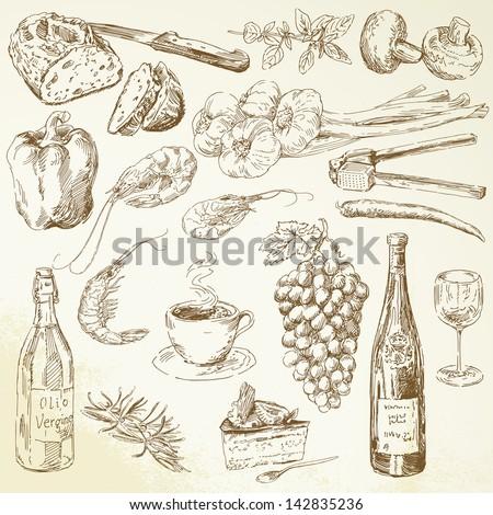 set of hand drawn food - stock vector
