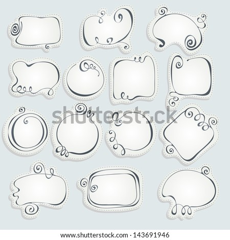Set of hand drawn frames - stock vector