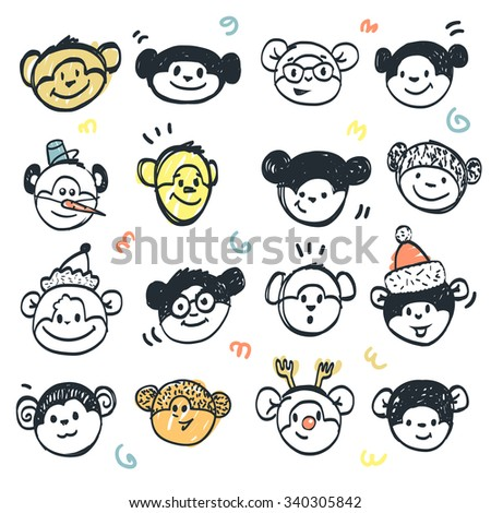 Set of hand drawn funny faces cute monkey.