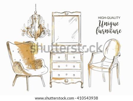 furniture sale ads. Modren Furniture Set Of Hand Drawn Furniture And Interior Detail Store Apartment  Promotion Sale In Furniture Sale Ads