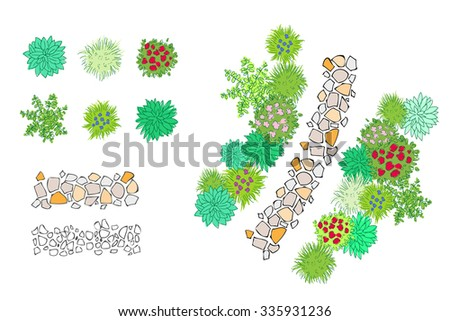 Set of hand drawn garden design elements for landscaping. Bushes, vases of flowers, hostas, paved path - stock vector