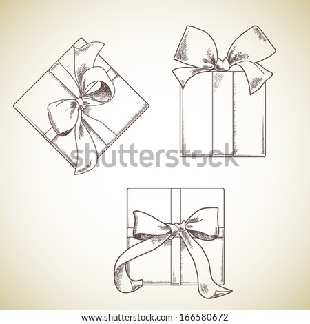 Set of hand drawn gift boxes with bows and ribbons.  Sketch illustration. Isolated on light background. - stock vector