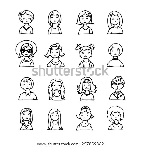set of hand drawn girls faces. vector avatar
