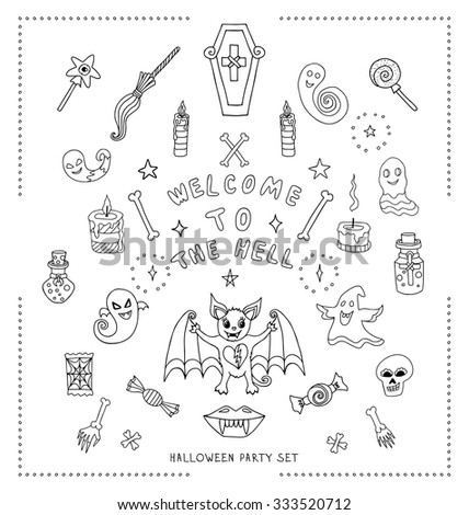 Set of hand drawn halloween coloring book. Halloween vector illustration with different creathers and objects isolated on white background. Witches attributes doodles set. Magic stuff in doodle style